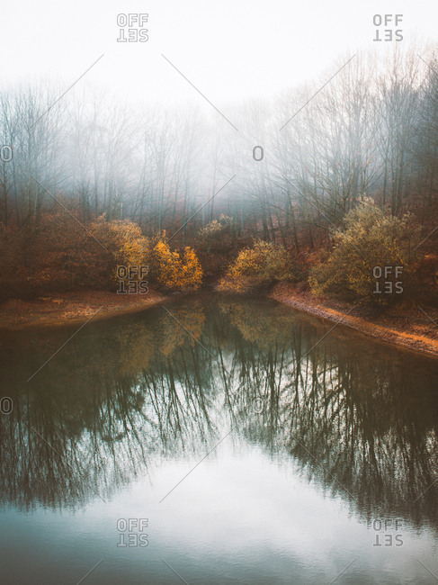 Peaceful lake water with reflection of autumnal dark trees in thick fog