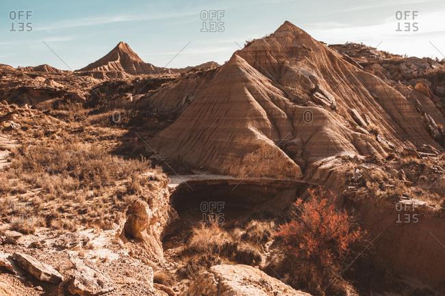 Picturesque sandy cliffs in sunlight