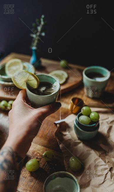 Arrangement of ceramic utensil on wood table