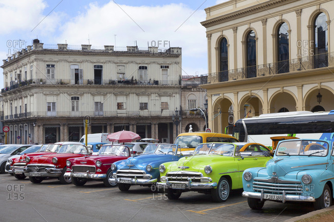 March 6, 2019: Cuba, Havana, downtown,collection of old cars for hire Y 03/06/2019