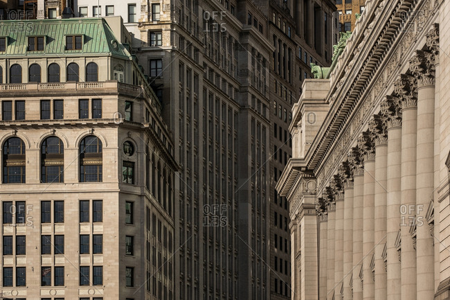 New York City - USA - Mar 11 2019: Close-up view of historical and modern skyscrapers in Financial District Lower Manhattan New York City