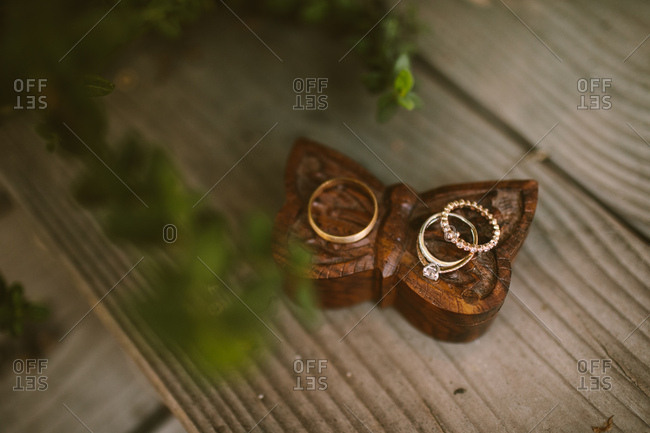 Wedding rings on handmade wooden box