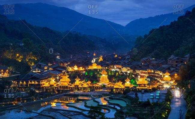 Guizhou province liping ZhaoXing DongZhai at night