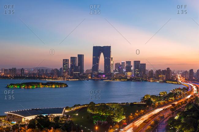 August 23, 2017: Jiangsu suzhou jinji lake at night