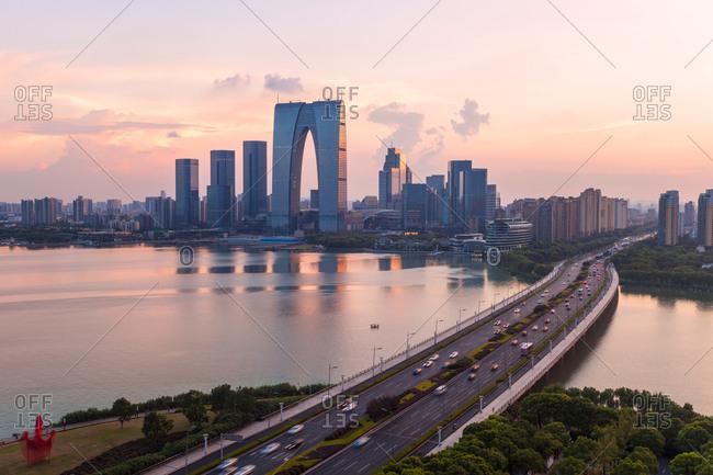 August 24, 2017: Jiangsu suzhou jinji lake scenery