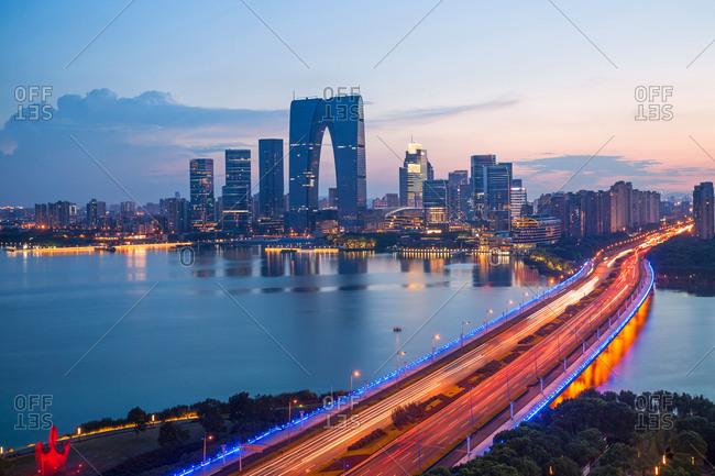 August 24, 2017: Jiangsu suzhou jinji lake at night