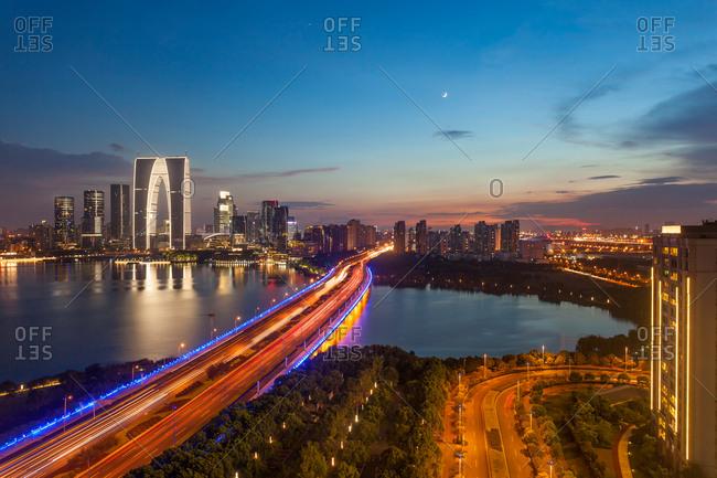 Jiangsu suzhou jinji lake at night