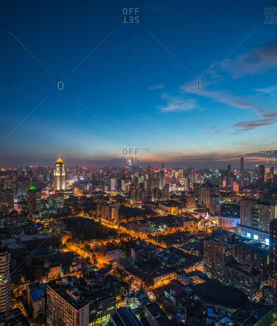 August 23, 2017: Wuhan city, hubei province construction at night