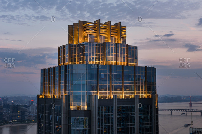 Wuhan city, hubei province construction at night