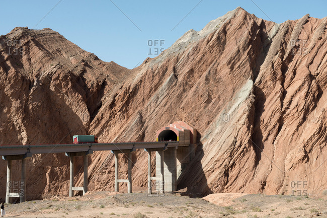 October 6, 2016: Xinjiang kuqa highway tunnel