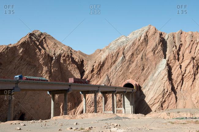 October 6, 2016: Xinjiang kuqa highway tunnel