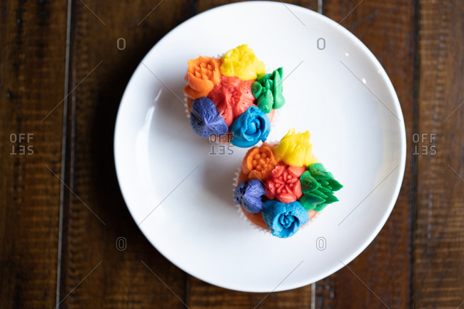 Overhead view of colorful cupcakes