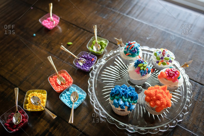 Cupcakes decorated with colorful toppings
