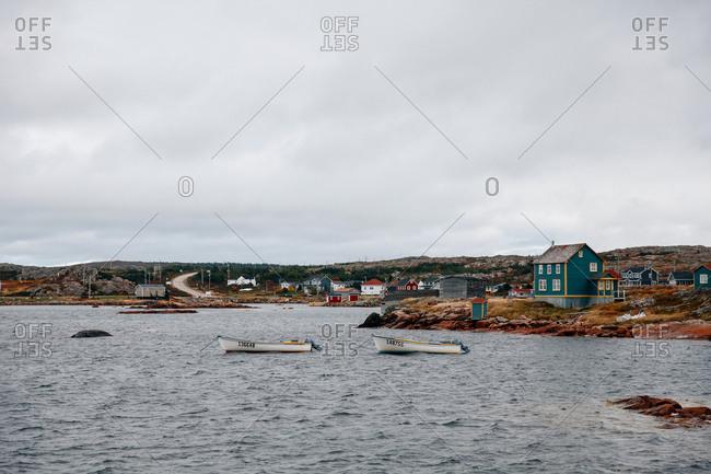 Boats moored off the coast of Newfoundland and Labrador, Canada