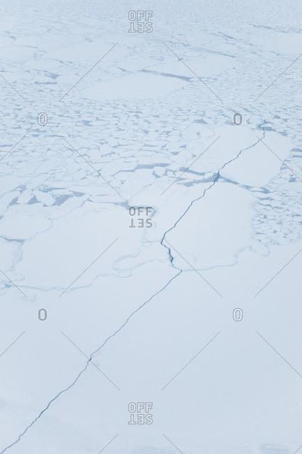 Cracks in the ice in rural Greenland