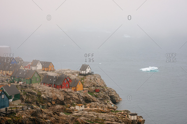 Colorful houses in a town on the coast of Greenland