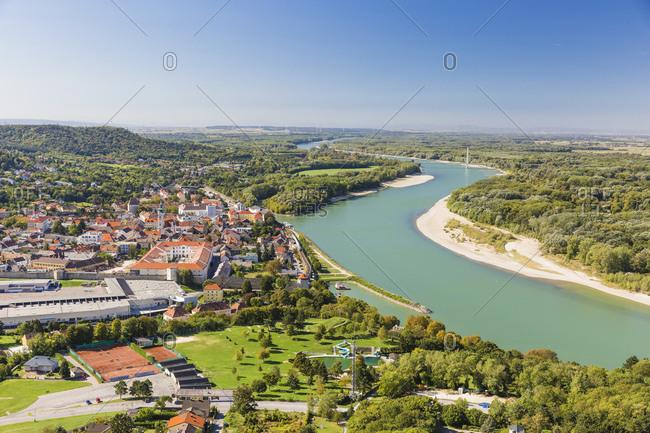September 30, 2018: Austria- Lower Austriam- Hainburg at Danube river