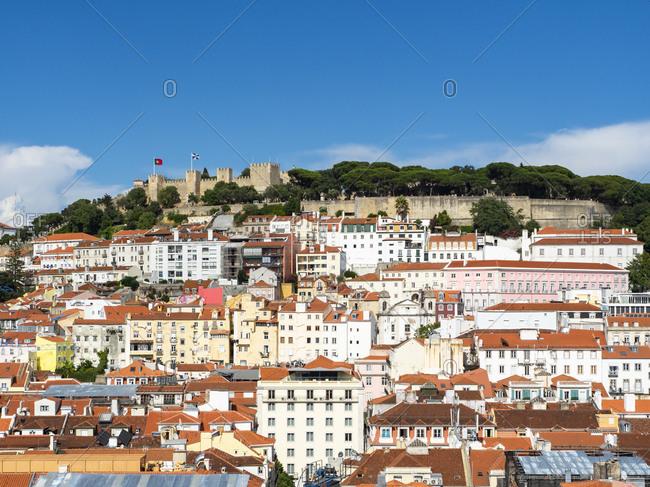 July 6, 2017: Portugal- Lisboa- Baixa- cityscape with Castelo Sao Jorge