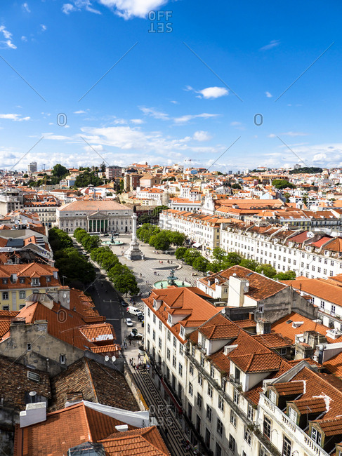 July 6, 2017: Portugal- Lisboa- cityscape with Rossio Square and Dom Pedro IV monument