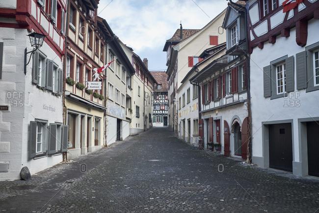 January 27, 2019: Switzerland- Stein am Rhein- Old town- alley