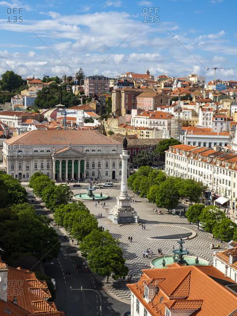 July 6, 2017: Portugal- Lisboa- cityscape with Rossio Square- Teatro Nacional D. Maria II and Dom Pedro IV monument