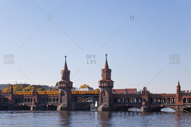 October 12, 2018: Germany- Berlin-Kreuzberg- view to Oberbaum Bridge with underground train