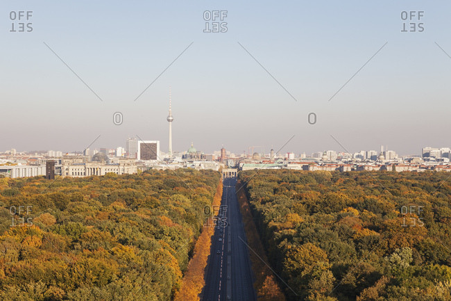October 12, 2018: Germany- Berlin- view to Gro§er Tiergarten and cityscape from Victory Column in autumn