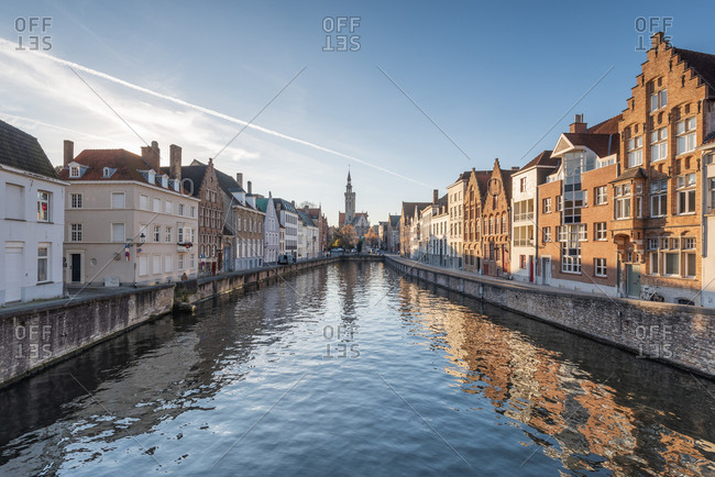 November 30, 2016: Belgium- Bruges- row of houses at canal