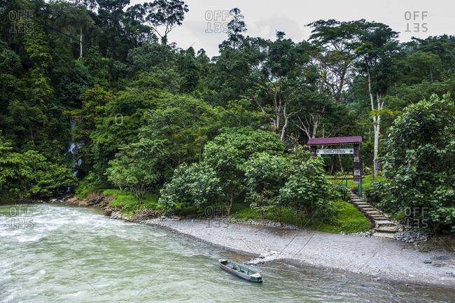 May 31, 2011: Indonesia- Sumatra- Bohorok river before the Bukit Lawang Orang Utan Rehabilitation station-