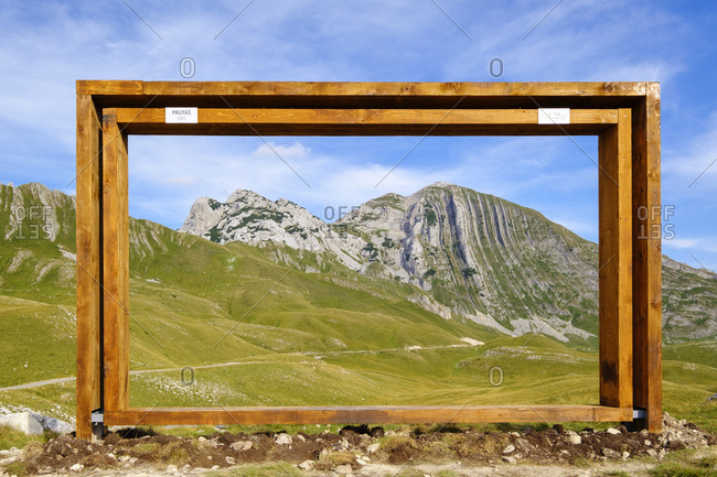 September 13, 2018: Montenegro- Durmitor National Park- Durmitor massif- viewpoint with frame- mountains Gruta and Prutas