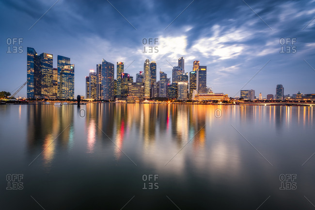 September 19, 2018: Singapore- Financial district- High rise buildings in the evening