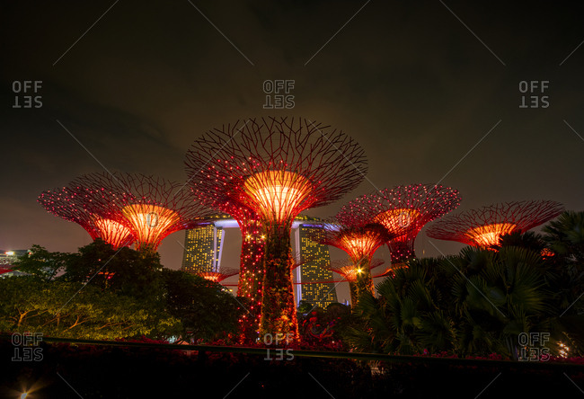 September 19, 2018: Singapore- Marina Bay- Gardens by the Bay- Super trees at night