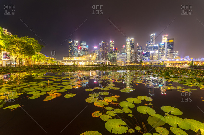 September 20, 2018: Singapore- Financial district- High rise buildings at night