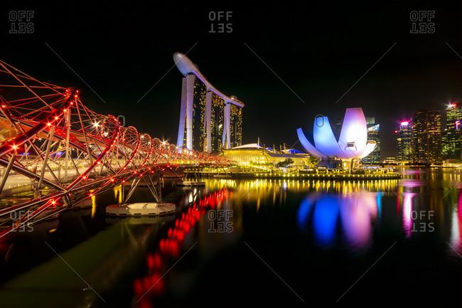 September 20, 2018: Singapore- Marina Bay Sands Hotel at night