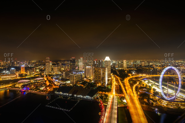 September 21, 2018: Singapore- cityscape at night