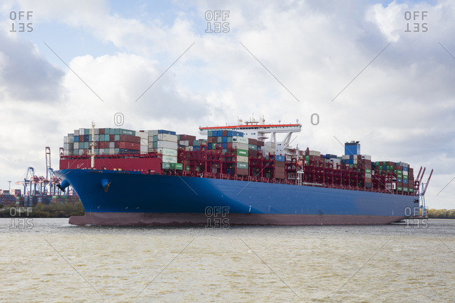 November 2, 2018: Germany- Hamburg- Container ship