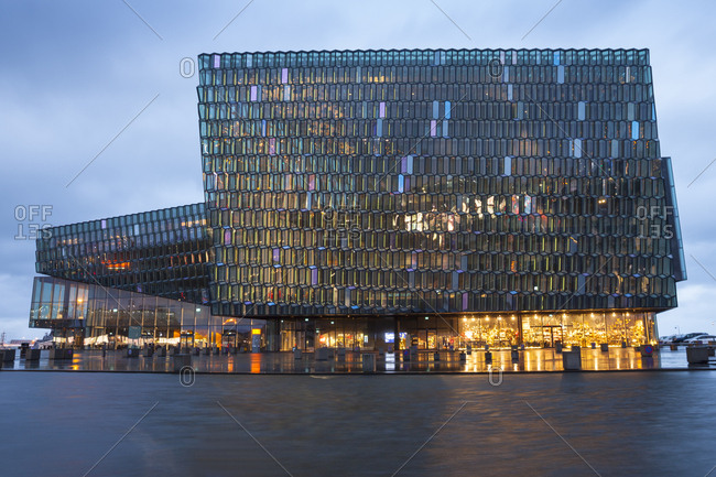 November 17, 2018: Iceland- Reykjavik- lighted Harpa concert hall