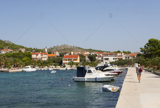 September 19, 2015: Croatia- Dalmatia- Zaboric- harbour and fishing boats