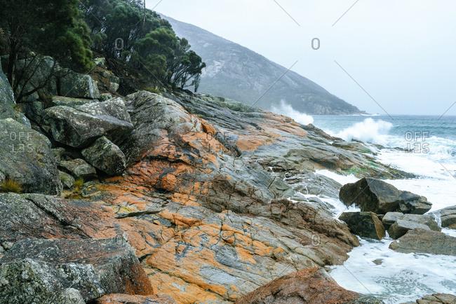 Australia- Tasmania- Freycinet National Park- rocky coast