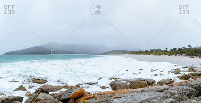 Australia- Tasmania- Freycinet National Park- Wineglass Bay on foggy day