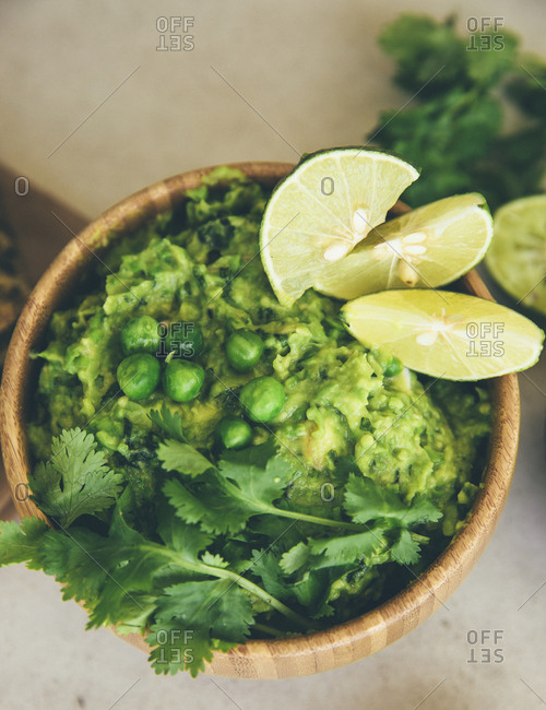 Guacomole with peas- avocado- lime and coriander
