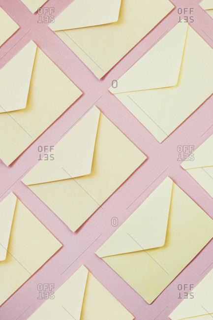 Yellow envelopes as background