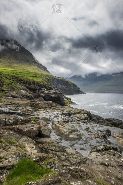 Denmark- Faroe islands- Vidoy- Little creek in Vidareidi