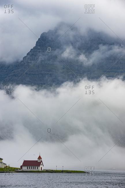 Denmark- Faroe islands- Vidoy- Little church in the fog