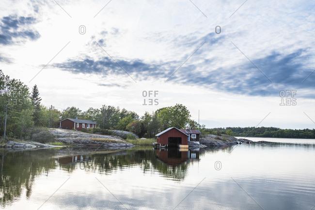 Finland- Aland- Mariehamn- Fjord and boathouse