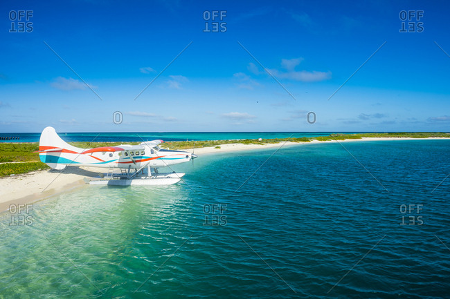 USA- Florida- Florida Keys- Dry Tortugas National Park- Water plane in the turquoise waters of Fort Jefferson