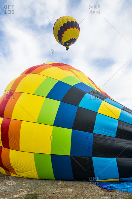 USA- California- Del Mar- Inflating an hot air balloon