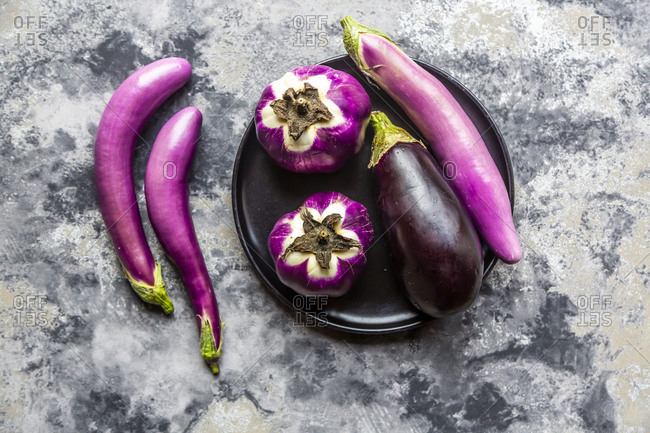 Various sorts of aubergines
