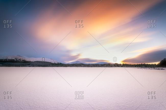 United Kingdom- Scotland- Highlands- Cairngorms National Park- Loch Morlich- snow covered- sunset