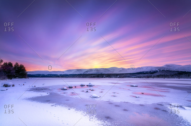 United Kingdom- Scotland- Highlands- Cairngorms National Park- Loch Morlich- sunrise
